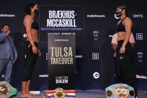 Cecilia Braekhus vs Jessica McCaskill Weights (Tulsa - Oklahoma) _ boxen247.com