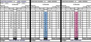 Herring vs Oquendo Judges Scorecards - boxen247.com