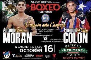 Moran vs Colon Fight Card Fighters Make Weight   boxen247.com