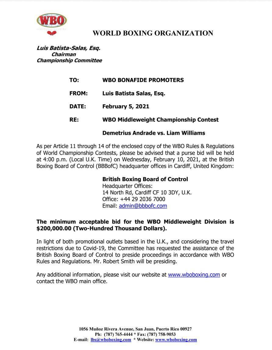 Purse Bid – WBO Middleweight Title Demetrius Andrade vs. Liam Williams | Boxen247.com