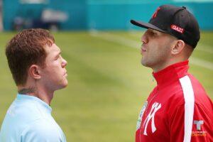 Canelo & Avni Yildirim Go Face-to-Face in Miami Ahead of Saturday | Boxen247.com