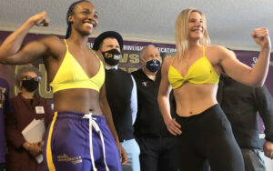 Claressa Shields & Marie-Eve Dicaire Weigh-In Ahead of Tomorrow   Boxen247.com