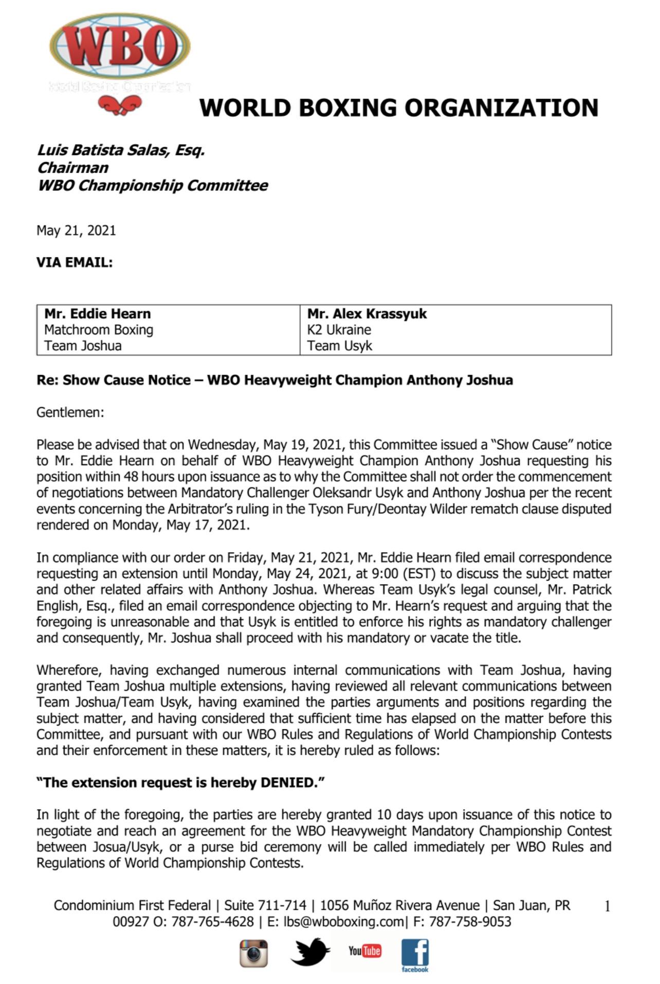 Official WBO Documents Re: Joshua vs. Usyk Heavyweight Showdown | Boxen247.com