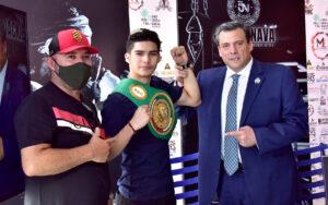 David Cuellar presented with his WBC green & gold belt | Boxen247.com
