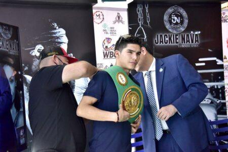 David Cuellar presented with his WBC green & gold belt | Boxen247.com | Boxen247.com
