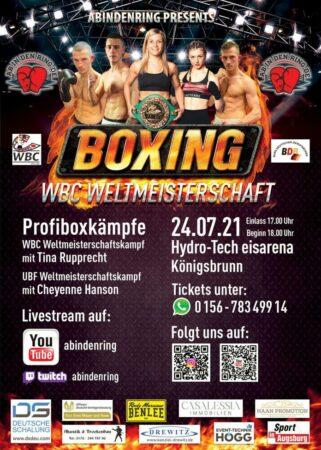 upprecht, will defend her belt on July 24 in Königsbrunn, south of Augsburg, Germany.