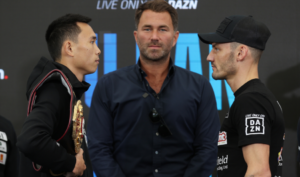 Leigh Wood & Xu Can exchange words at final press conference   Boxen247.com (Kristian von Sponneck)