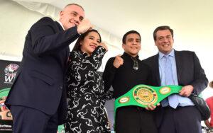 Cuauhtli Guerrero receives his Youth Green and Gold Belt   Boxen247.com (Kristian von Sponneck)