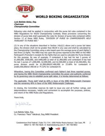 WBO orders Terence Crawford vs. Shawn Porter (details & official letter) | Boxen247.com (Kristian von Sponneck)