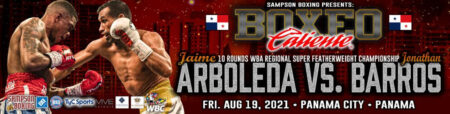 Jaime Arboleda faces Jonathan Barros in Panama City on August 19 | Boxen247.com (Kristian von Sponneck)