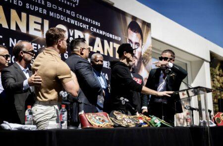 Mayhem at Canelo vs. Plant press conference - punches fly, Plant cut! | Boxen247.com (Kristian von Sponneck)