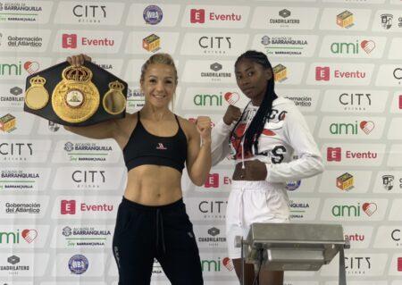 Yesica Bopp & Johana Zúñiga weigh-in ahead of their WBA Title fight   Boxen247.com (Kristian von Sponneck)
